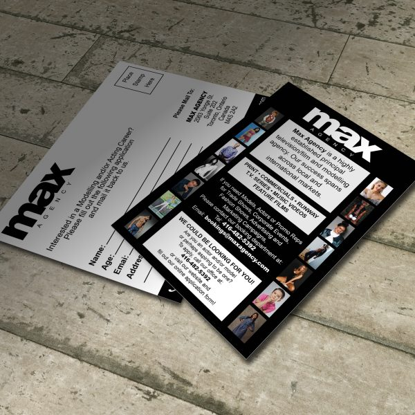 Postcard Design for MAX Agency, Toronto's Premier Talent Agency