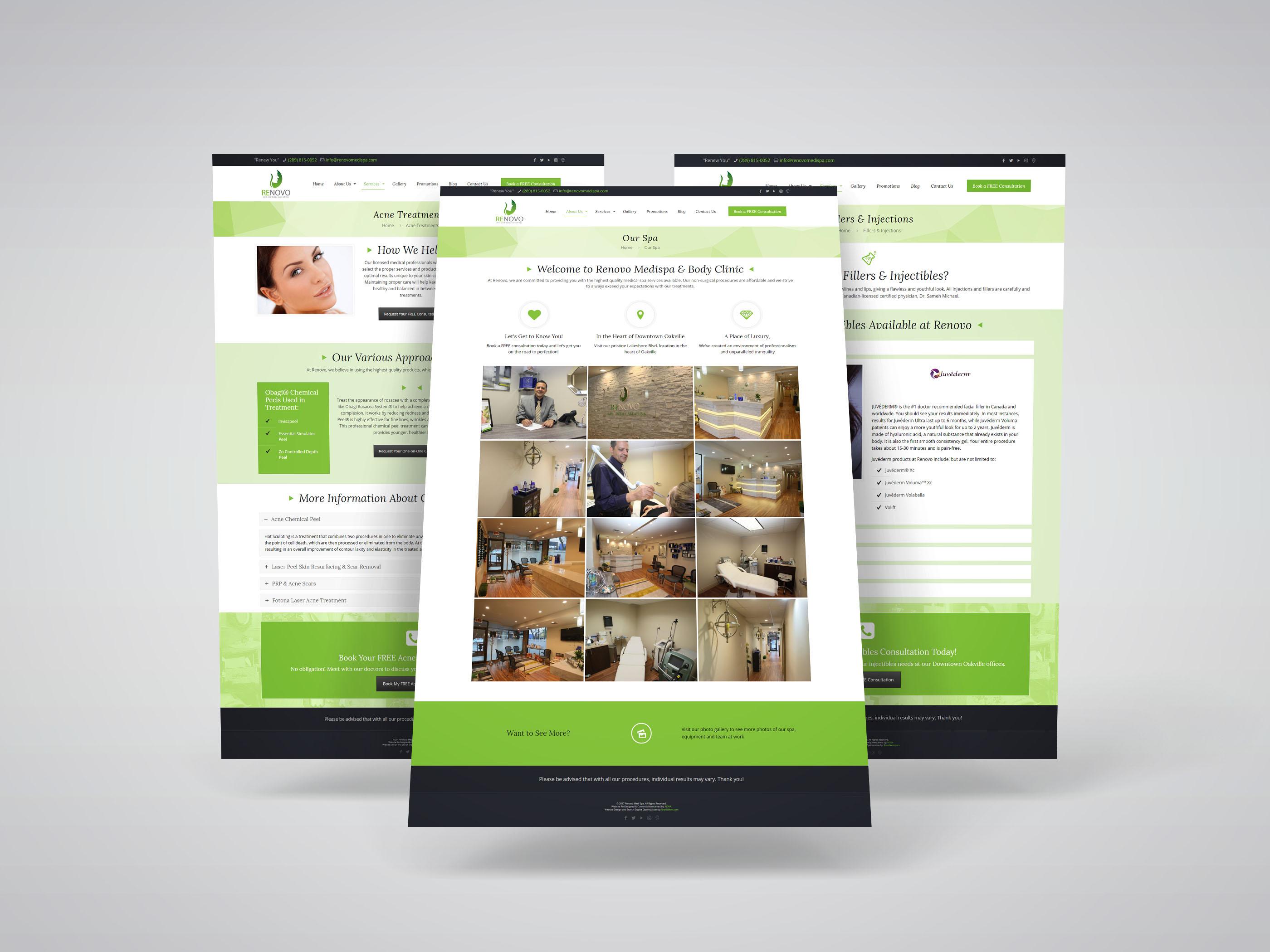 Medi Spa Website Design for Renovo Medi Spa, an Oakville-based medi spa