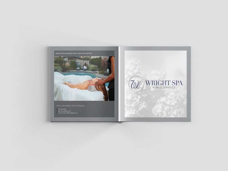 Cover and Back Cover of Corporate Media Kit for Wright Spa By NOYA