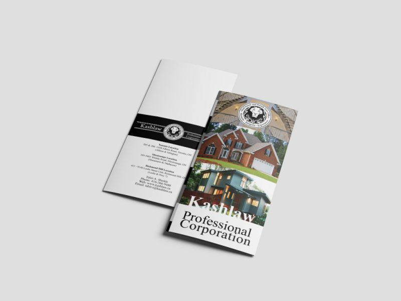 Legal Brochure Design for Kashlaw Legal Firm, a Toronto Law Firm
