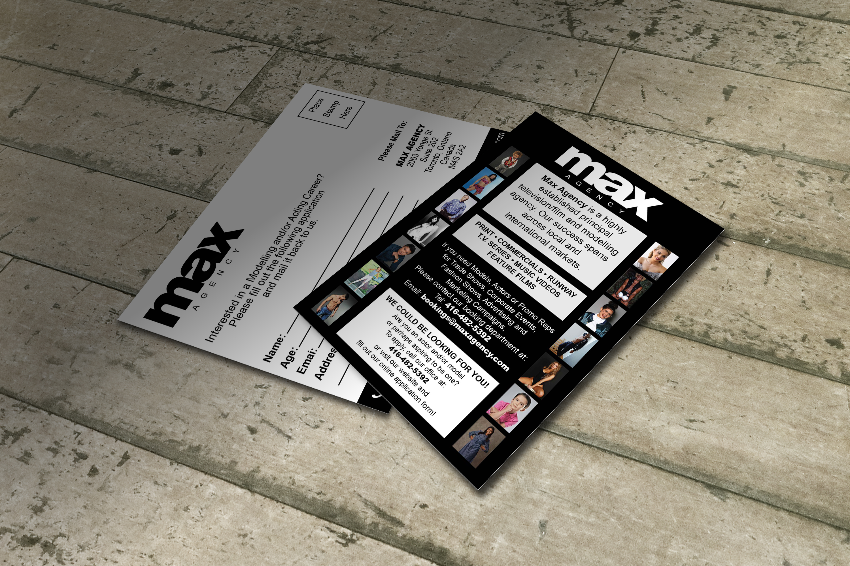 Postcard Design for MAX Agency, Toronto's Premier Talent Agency