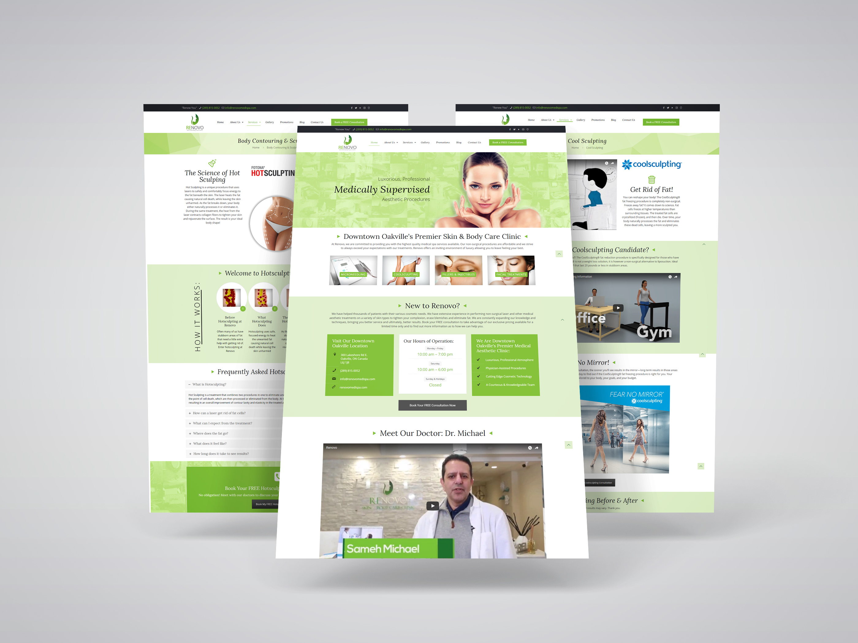 Medi Spa Website Design for Renovo Medi Spa, an Oakville-based medi spa